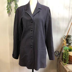Eileen Fisher Crepe Wool Long Line Blazer Plum L